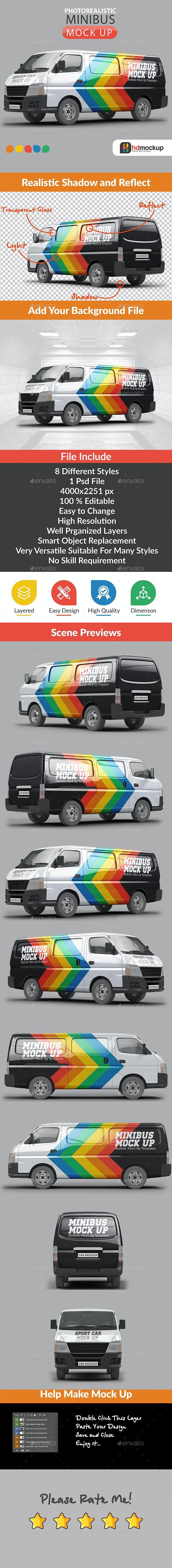 Photorealistic Minibus Car Mock Up - Vehicle Wraps Print