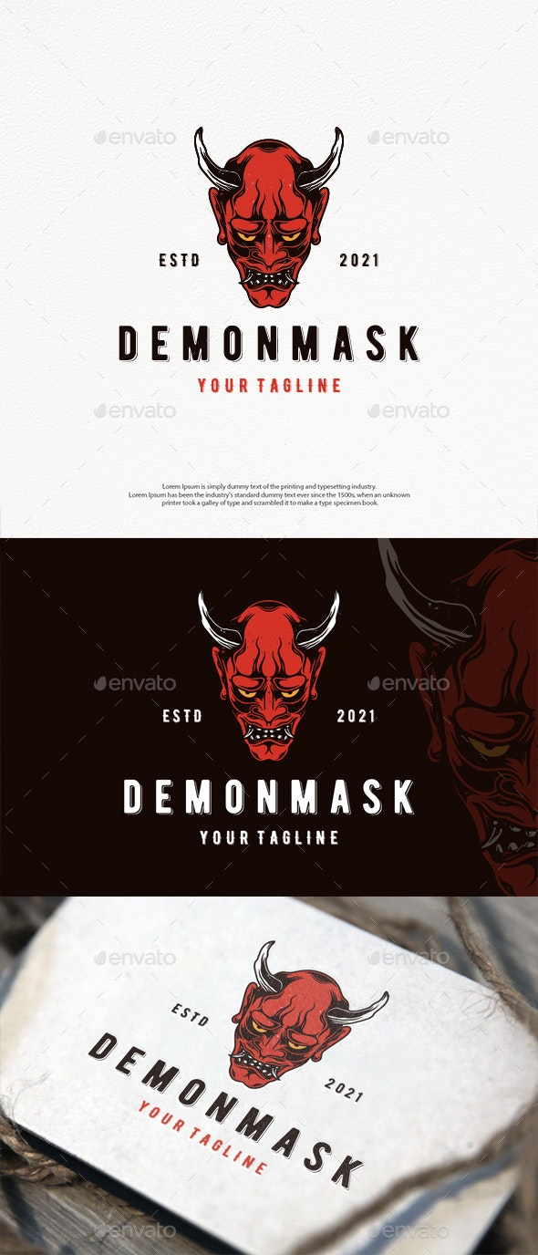 Demon Oni Mask Logo Template - Crests Logo Templates