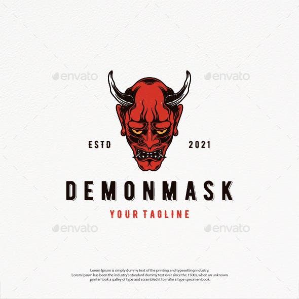 Demon Oni Mask Logo Template