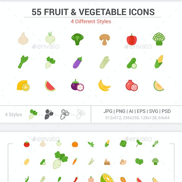 55 Fruit and Vegetable icons