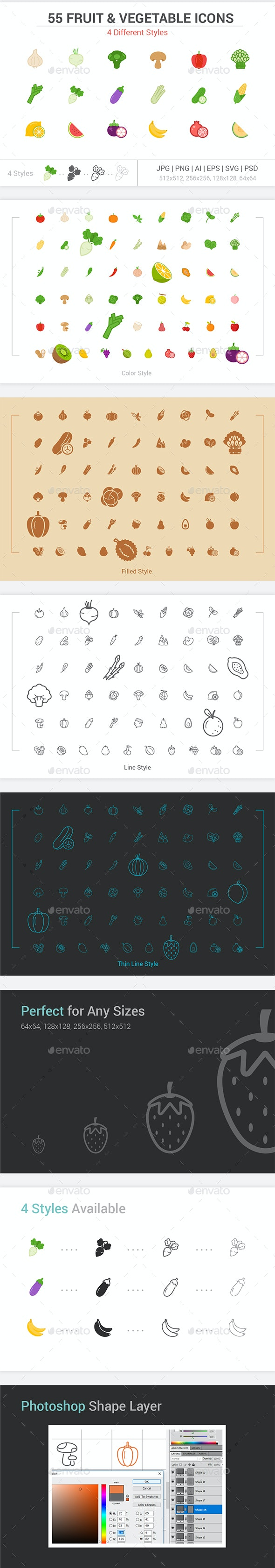 55 Fruit and Vegetable icons - Food Objects