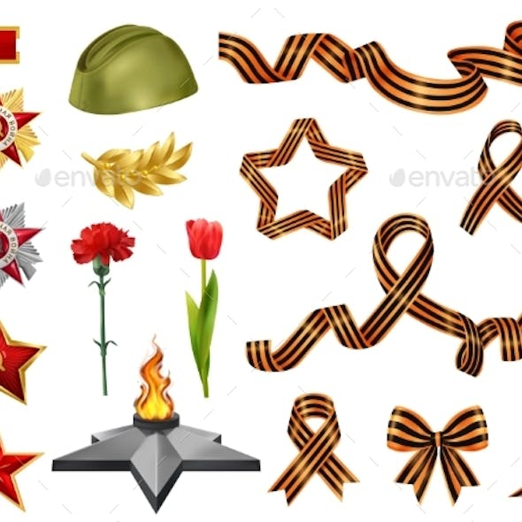 Realistic Victory Day Icons