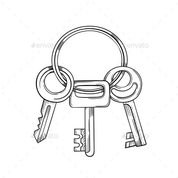 Keys Cartoon Vector and Illustration - Man-made Objects Objects