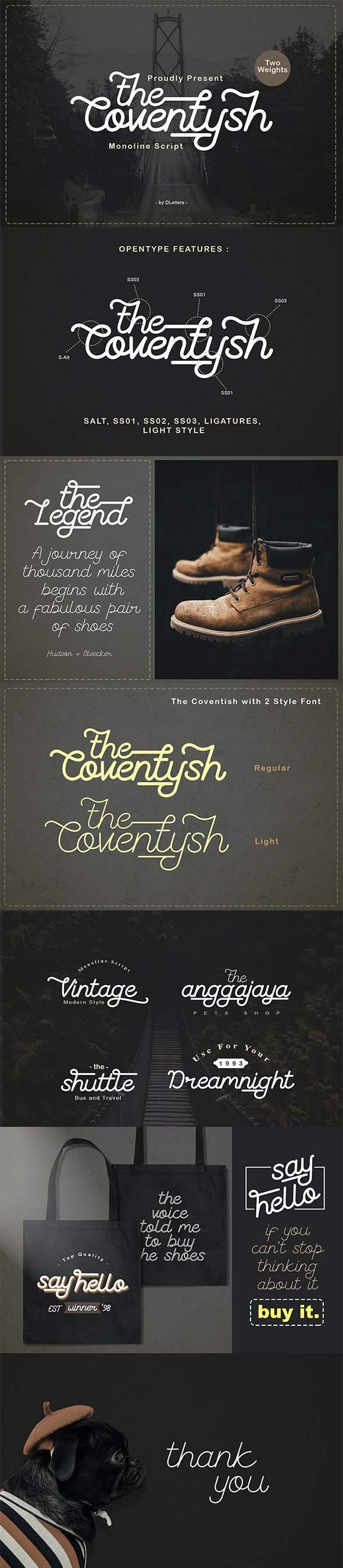 The Coventysh – Monoline Script Font - Handwriting Fonts