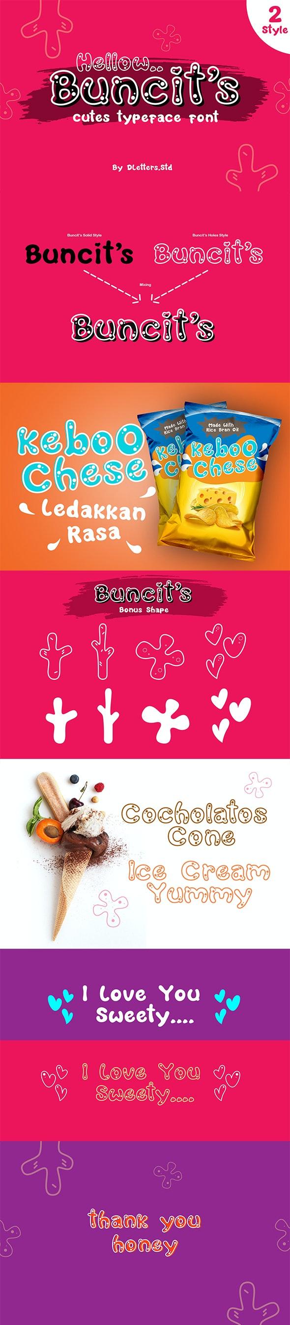 Buncit's Cutes TypeFace Font – 2 Style - Decorative Fonts