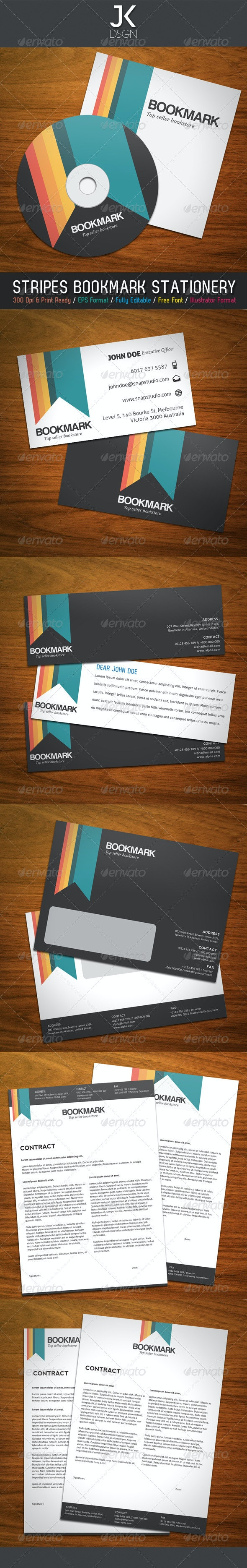 JK Bookmark Stationery - Stationery Print Templates