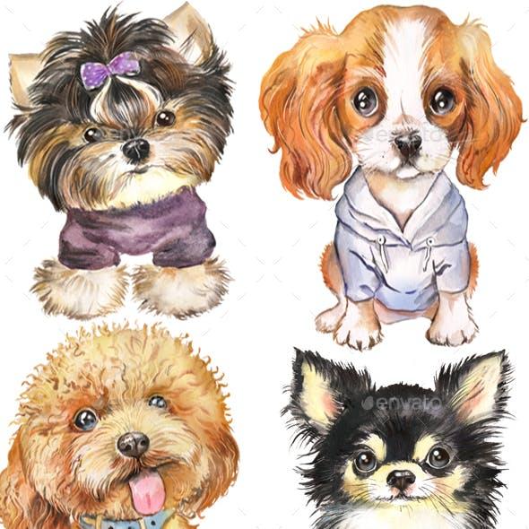 Dog Watercolor сlipart. Cute Puppies