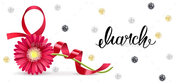Greeting Card with a Red Ribbon in the Shape of March 8 and a Gerbera Flower - Miscellaneous Seasons/Holidays