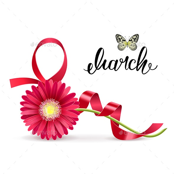Greeting Card with March 8 and Gerbera - Miscellaneous Seasons/Holidays