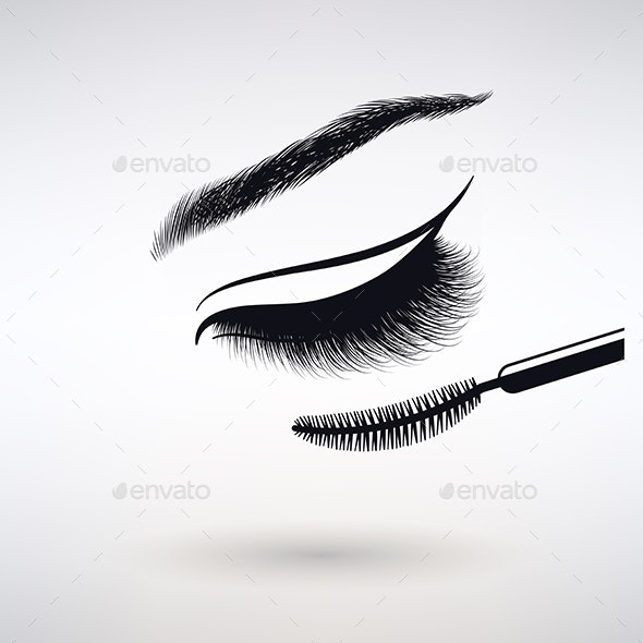 Female Eye with Long Eyelashes - Characters Vectors