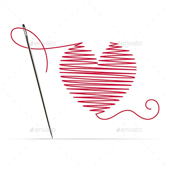 Needle with Red Thread in the Shape of a Heart - Miscellaneous Vectors