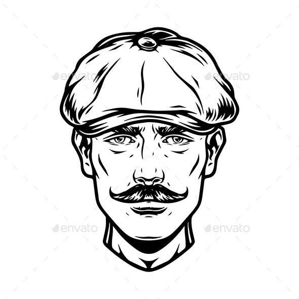 Mustached Male Head in Irish Cap