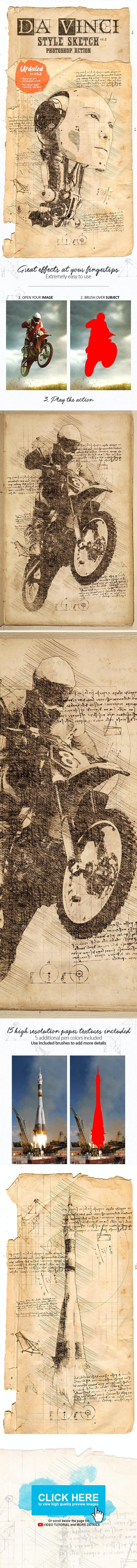 Da Vinci Sketch Photoshop Action - Photo Effects Actions