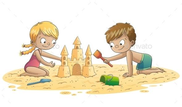 Children Build A Sand Castle - People Characters