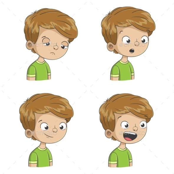 Boy Shows Four Emotions - People Characters