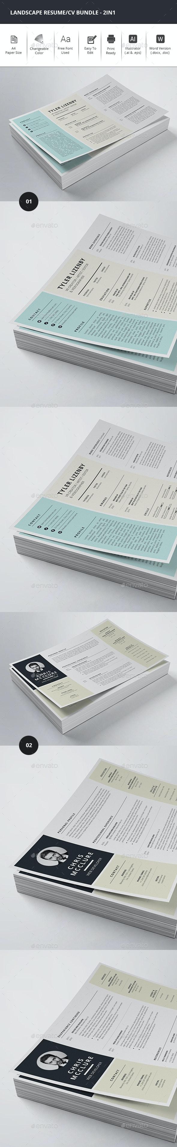 Landscape Resume Bundle - 2in1 - Resumes Stationery