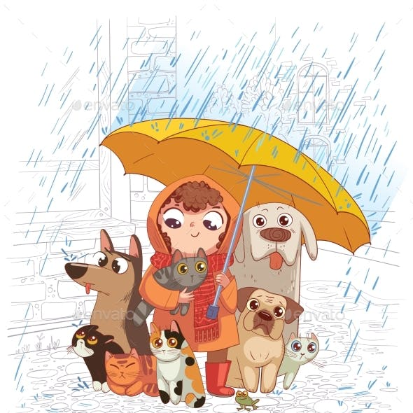 Girl with Dogs and Cats Stands in the Rain Under