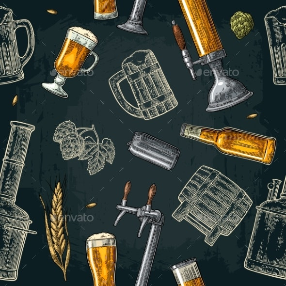 Seamless Pattern Beer Tap Class Can Bottle - Patterns Decorative