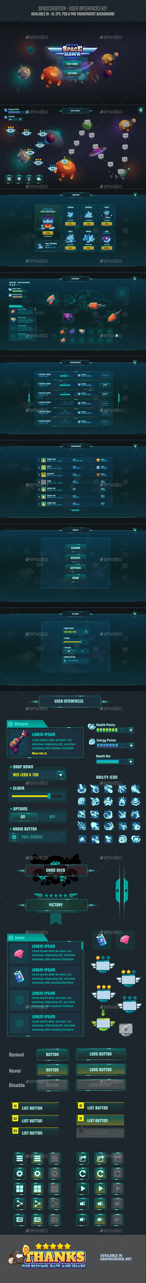 Space Shooter UI - User Interfaces Game Assets