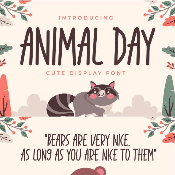 Animal Day - Cute Display Font