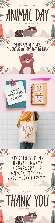 Animal Day - Cute Display Font - Handwriting Fonts