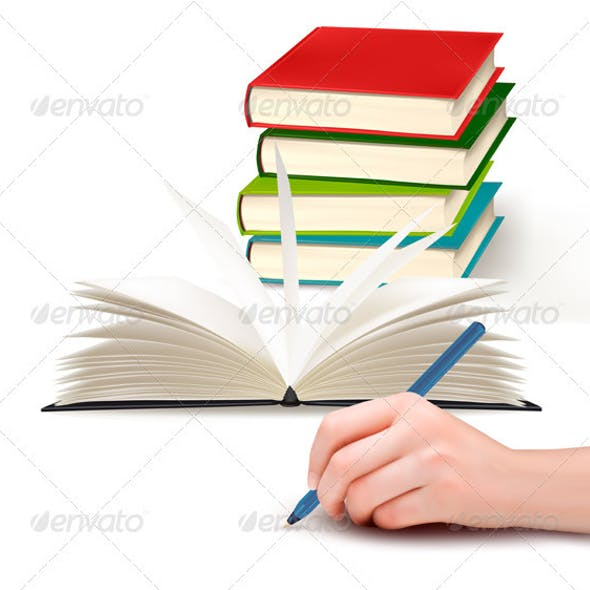 Hand with pen writing on paper and stack of book