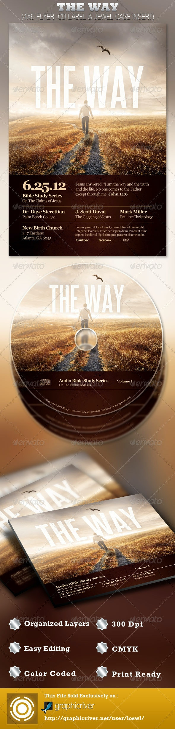 The Way Church Flyer and CD Template - Church Flyers
