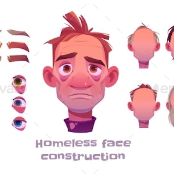 Homeless Man Face Construction Avatar Creation
