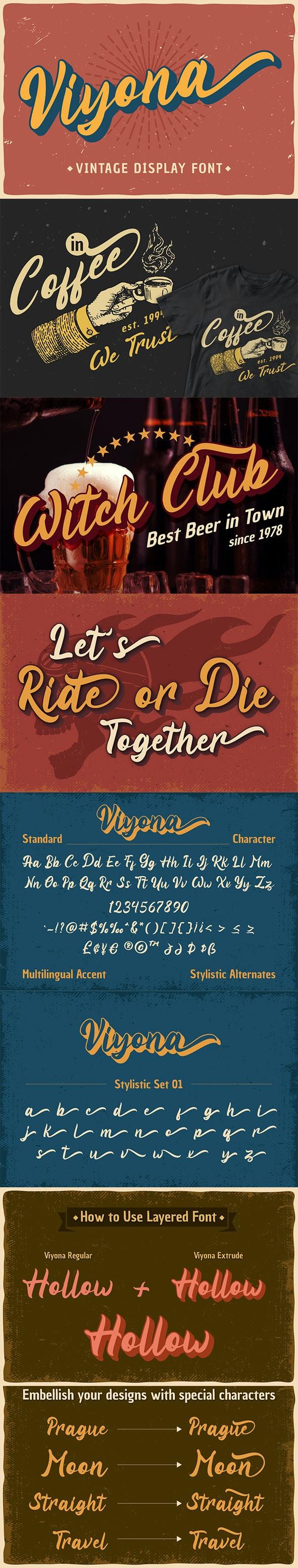 Viyona - Vintage Display Font - Script Fonts