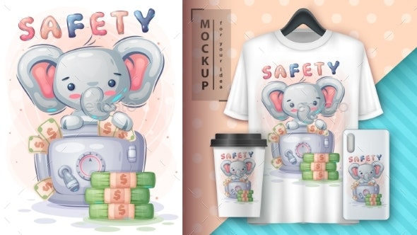 Elephant Is Saving Money Poster and Merchandising - Animals Characters