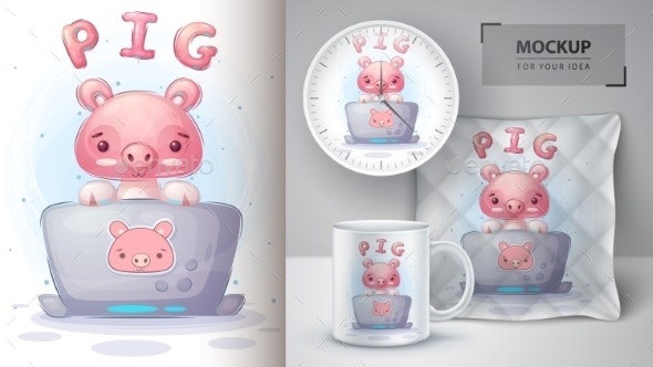 Pig Works at the Notebook Poster and Merchandising - Animals Characters