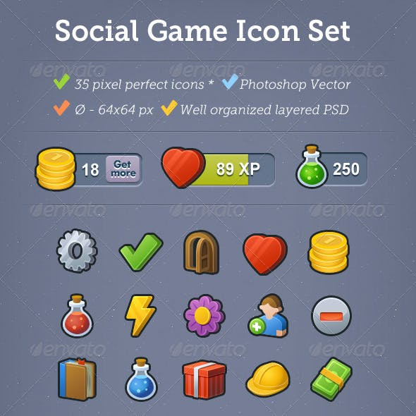 35 Social Game Icons