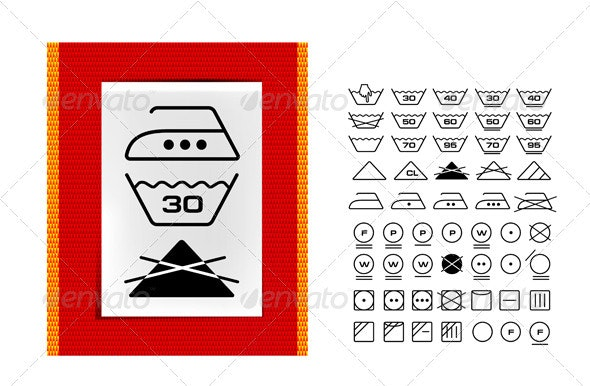 Washing Symbols On Clothing Labels - Miscellaneous Characters