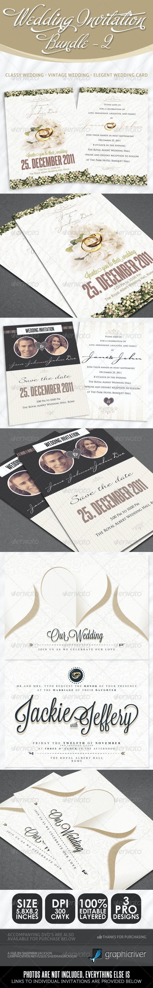 Wedding Invitation Bundle - Pack 2 - Weddings Cards & Invites