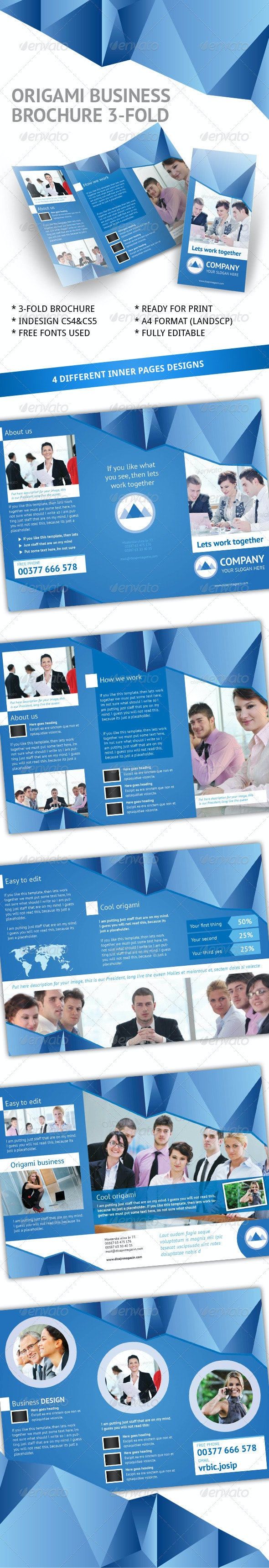 Business Origami 3-fold Brochure InDesign Template - Corporate Brochures