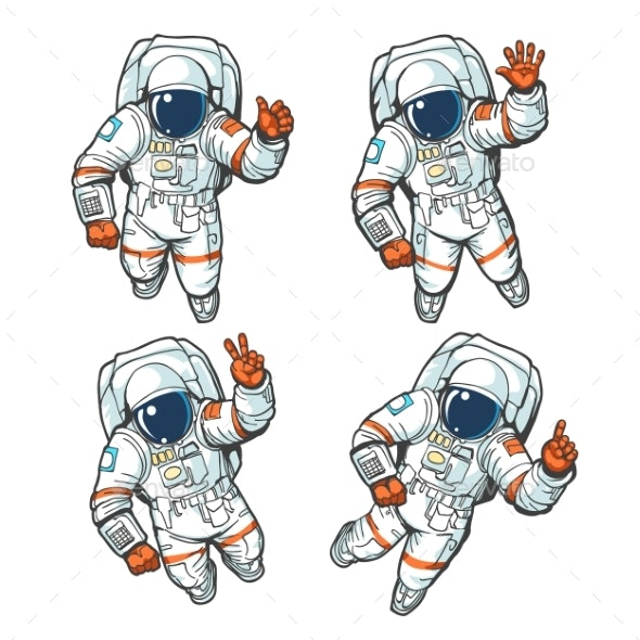 Floating Cosmonaut Set - Miscellaneous Vectors