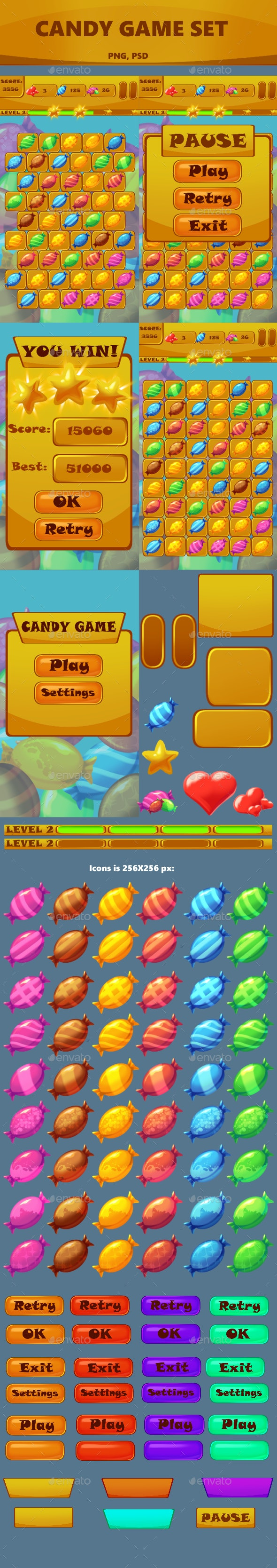 Match 3 Game Kit: Candy - Game Kits Game Assets