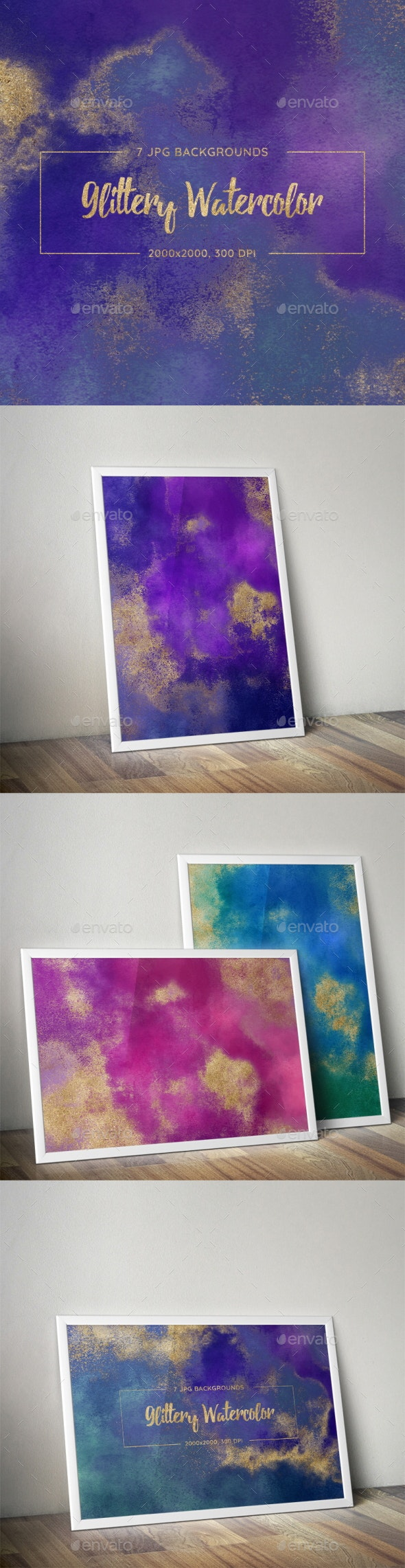 7 Glittery Watercolor Backgrounds - Abstract Backgrounds