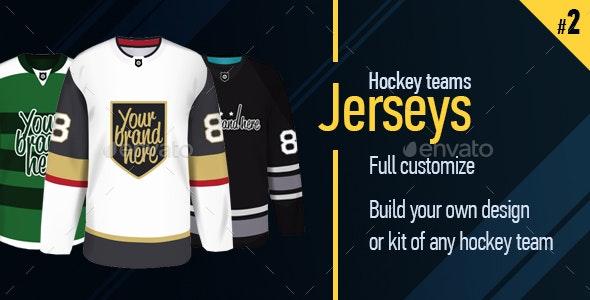 Vector Illustration of Hockey Teams Jerseys Part Two - Sports/Activity Conceptual