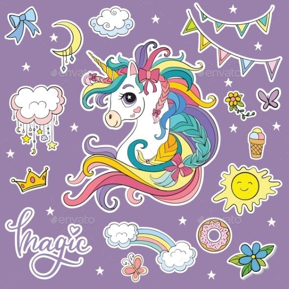 Set of Fancy Cartoon Unicorn Vector Illustration - Miscellaneous Vectors