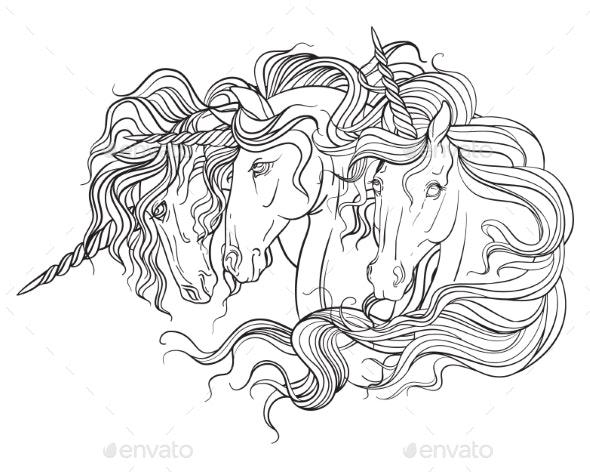 Unicorns Portraits Vector Illustration Coloring - Animals Characters