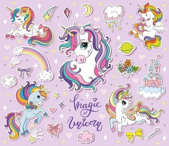Set of Cartoon Unicorn Vector Illustration - Miscellaneous Vectors