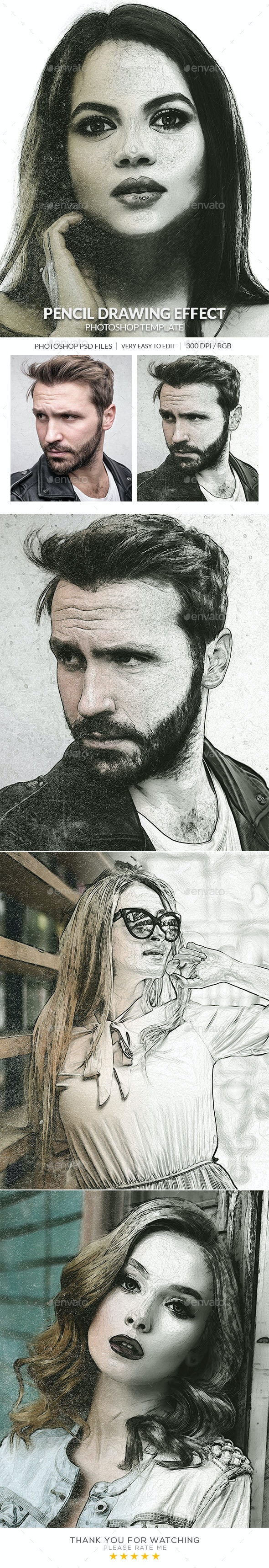 Pencil Drawing Photo Effect - Artistic Photo Templates