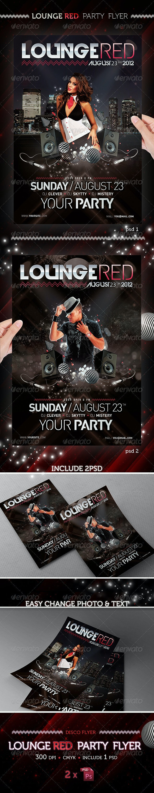 Lounge Red Party Flyer Template - Clubs & Parties Events