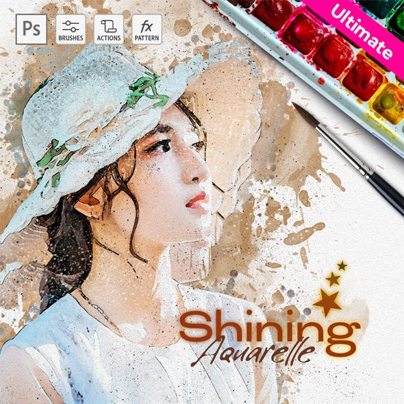Shining Aquarelle - Watercolor - Photoshop Action
