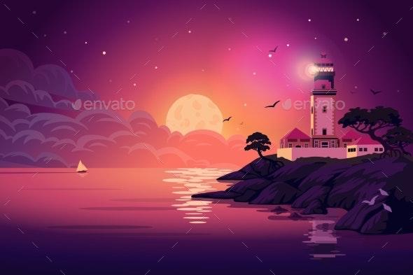 Lighthouse  Vector Landscape - Landscapes Nature