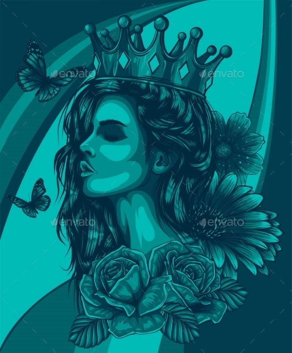 Beautiful Girl with Flowers and Butterfly Vector - Miscellaneous Vectors