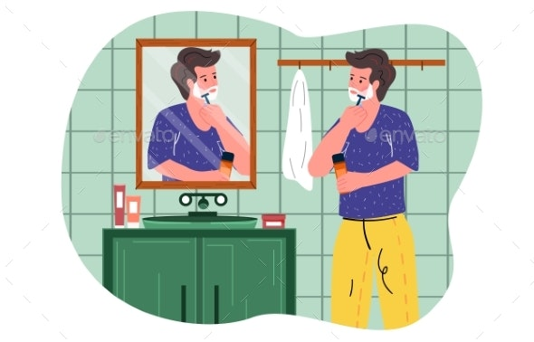 Male Character Is Standing Against Mirror Shaving - People Characters