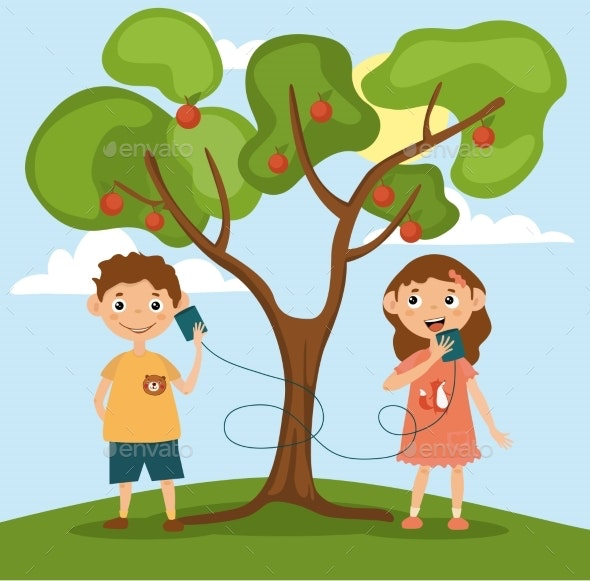 Little Girl and Boy Are Talking on Toy Phone - Objects Vectors
