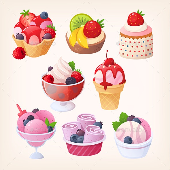 Set of Vector Berry Desserts - Food Objects